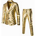 billiga Zentai-Herr Ledigt / vardag Enkel / Streetchic Höst / Vinter Normal kostymer, Enfärgad Hakslag Långärmad Bomull Svart / Guld / Silver