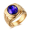 Χαμηλού Κόστους Αντρικά Δαχτυλίδια-Ανδρικά Δακτύλιος Δήλωσης Δαχτυλίδι Ζαφειρένιο Cubic Zirconia Χρυσό Ασημί Ζιρκονίτης Τιτάνιο Ατσάλι Βίντατζ Μοντέρνα Γάμου Καθημερινά Κοσμήματα Πασιέντζα Στρόγγυλα
