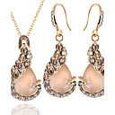 billiga Modeörhängen-Dam Opal Smycken Set Påfågel Europeisk Opal örhängen Smycken Guld Till Dagligen