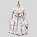 billiga Lolitaklänningar-Prinsessa Sweet Lolita Klänningar Dam Flickor Spets Cotton Japanska Cosplay-kostymer Rosa Enfärgad Kortärmad Knälång