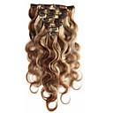 povoljno Naljepnice, etikete i privjesci-S kopčom Proširenja ljudske kose Tijelo Wave Ljudska kosa Ekstenzije od ljudske kose 14-22 inch 7 komada Žene Jagoda blond / 10A