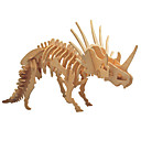 ราคาถูก ฟิกเกอร์ไดโนเสาร์-3D-puslespill ปริศนาไม้ แบบไม้ Triceratops Dinosaur กระดูกฟอสซิล DIY ทำด้วยไม้ 1 pcs สำหรับเด็ก ผู้ใหญ่ เด็กผู้ชาย เด็กผู้หญิง Toy ของขวัญ