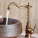 billiga Fristående tvättställ-Badrum Tvättställ Kran - Utbredd Antik koppar Centerset Singel Handtag Ett hålBath Taps