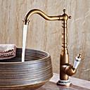billiga Köksblandare-Badrum Tvättställ Kran - Utbredd Antik koppar Centerset Singel Handtag Ett hålBath Taps