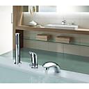 ราคาถูก ผ้าคลุมเบาะ-ก๊อกอ่างอาบน้ำ - ร่วมสมัย / Art Deco / Retro / Country มีสี กระจาย Ceramic Valve Bath Shower Mixer Taps / เหล็กสเตนเลส / จับเดี่ยวสามหลุม