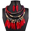 ราคาถูก สร้อยคอ-สำหรับผู้หญิง ชุดเครื่องประดับ หลายเลเยอร์ Feather พู่ แฟชั่น หลายเลเยอร์ ต่างหู เครื่องประดับ สีดำ / แดง / ฟ้า สำหรับ ทุกวัน