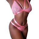 baratos Perucas de Cabelo Natural-Mulheres Sexy Lingerie com Renda Roupa de Noite - Renda Sólido Rosa L XL XXL