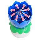 Χαμηλού Κόστους Κεριά & Κηροπήγια-1pcs λουλούδι λουλούδι κερί γενεθλίων κόμμα τούρτα μουσική λάμψη κέικ topper περιστρεφόμενο διακόσμηση κεριών