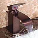 billiga Tvättställsblandare-Badrum Tvättställ Kran - Vattenfall Oljeaktig Brons Centerset Singel Handtag Ett hålBath Taps