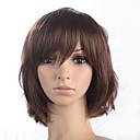 Χαμηλού Κόστους Αξεσουάρ μαλλιών-Συνθετικές Περούκες Σγουρά Σγουρά Κούρεμα καρέ Σύντομο βαρίδι Με αφέλειες Περούκα Μεσαίο Καστανοκόκκινο Συνθετικά μαλλιά Γυναικεία Με τα Μπουμπούκια Καφέ