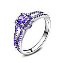 ราคาถูก น้ำมันหอมระเหยเครื่องกระจายกลิ่น-วงแหวน แหวน แหวนหมั้น Cubic Zirconia สีม่วง เพทาย Silver งานแต่งงาน ปาร์ตี้ เครื่องประดับ