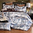 Χαμηλού Κόστους Εξώφυλλα πολυτελείας Duvet-πάπλωμα σετ πολυτελές ζακέτα από βαμβάκι / βαμβάκι ζακάρ 4 τεμάχια (1 πάπλωμα, 1 κομμάτι, 2 shams) / βασίλισσα, πλήρες μέγεθος