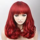 ราคาถูก คอนซีลเลอร์และคอนทัวร์-วิกผมสังเคราะห์ ลอนใหญ่ ลอนใหญ่ กับ Bangs ผมปลอม ขนาดกลาง Red สังเคราะห์ สำหรับผู้หญิง แดง
