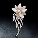 billiga Modebroscher-Dam Broscher Blomma damer Stilig Elegant Italienska För vardagsbruk Kristall Bergkristall Brosch Smycken Guld Till Party Casual