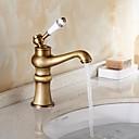 ราคาถูก ผมต่อจากผมคนแท้-ก๊อกน้ำอ่างล้างจานห้องน้ำ - กระจาย ทองแดงโบราณ ตัวเจาะนำศูนย์ จับเดี่ยวหนึ่งหลุมBath Taps