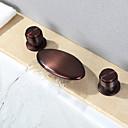 billiga Tvättställsblandare-Badrum Tvättställ Kran - Vattenfall / Utbredd Oljeaktig Brons Hål med bredare avstånd Två handtag tre hålBath Taps