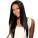billiga Hästsvansar-Syntetiska peruker Rak / Naturlig Straight Kardashian Stil Utan lock Peruk Svart Svart Syntetiskt hår Dam Mittbena Svart Peruk Lång
