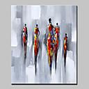 billige Abstrakte malerier-Hang malte oljemaleri Håndmalte - Abstrakt Mennesker Moderne Europeisk Stil Inkluder indre ramme / Stretched Canvas