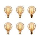 ราคาถูก หลอดไฟแบบไส้-ecolight ™ 6pcs หลอดไฟ edsion 40w e26 / e27 g80 2300k หลอดไส้หลอดวินเทจ 220-240 โวลต์