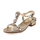 ราคาถูก รองเท้าแตะผู้หญิง-สำหรับผู้หญิง รองเท้าแตะ Crystal Sandals ส้นต่ำ เปิดนิ้ว หัวเข็มขัด แวววาว / วัสดุที่กำหนดเอง ความแปลก / รองเท้าคลับ ฤดูใบไม้ผลิ / ฤดูร้อน สีทอง / เงิน / EU40