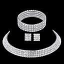 billiga Jewelry Set-Smycken Set damer Brudkläder Iced Out Bergkristall örhängen Smycken Silver Till Bröllop Party Casual Maskerad Förlovningsfest Bal