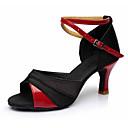 Χαμηλού Κόστους Παπούτσια χορού λάτιν-Γυναικεία Παπούτσια Χορού Δερματίνη / Ύφασμα Παπούτσια χορού λάτιν Αγκράφα Πέδιλα / Τακούνια Κουβανικό Τακούνι Εξατομικευμένο Μαύρο και Χρυσό / Μαύρο και Ασημί / Μαύρο / Κόκκινο / Επίδοση / EU40