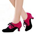 billige Ballroom-sko og moderne dansesko-Dame Dansesko Semsket lær Moderne sko Høye hæler Kubansk hæl Kan spesialtilpasses Svart / Svart / Rød / Fuksia / Innendørs