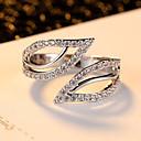ราคาถูก แหวน-สำหรับผู้หญิง แหวน แหวนนิ้วหัวแม่มือ Cubic Zirconia เพชรจิ๋ว ขาว เพทาย Cubic Zirconia Platinum Plated สุภาพสตรี ไม่ปกติ ดีไซน์เฉพาะตัว ปาร์ตี้ ทุกวัน เครื่องประดับ Leaf Shape สามารถปรับได้ / โลหะผสม