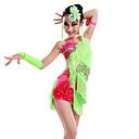 Χαμηλού Κόστους Παιδικά Ρούχα Χορού-Λάτιν Χοροί Φορέματα Επίδοση Mohair Φούντα / Κρύσταλλοι / Στρας Αμάνικο Φυσικό Φόρεμα / Γάντια / Καλύμματα Κεφαλής