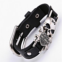 billiga Moderingar-Läder Armband Döskalle damer Bohemisk Punk Rock Gotiskt Läder Armband Smycken Svart Till Julklappar Party Speciellt Tillfälle Årsdag Födelsedag Förlovning