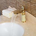 povoljno Slavine za umivaonik-Kupaonica Sudoper pipa - Waterfall Ti-PVD Središnje pozicionirane Jedan Ručka jedna rupaBath Taps / Keramika
