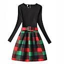 Χαμηλού Κόστους Φορέματα για κορίτσια-Παιδιά Κοριτσίστικα Τετράγωνο Καρό Μακρυμάνικο Φόρεμα Πράσινο του τριφυλλιού