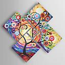baratos Pinturas Abstratas-Pintura a Óleo Pintados à mão - Abstrato Modern Incluir moldura interna / 5 Painéis / Lona esticada