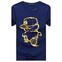 billiga Skruvmejslar och mutterdragare-Tryck, Tecknat Sport Plusstorlekar Bomull T-shirt - Grundläggande Herr Rund hals Smal Svart / Kortärmad / Sommar