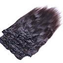 Χαμηλού Κόστους Συνθετικά εξτένσιον-Κουμπωτό Επεκτάσεις ανθρώπινα μαλλιών Ίσιο Φυσικά μαλλιά Εξτένσιον από Ανθρώπινη Τρίχα Βραζιλιάνικη Γυναικεία Μαύρο