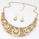 Χαμηλού Κόστους Σετ Κοσμημάτων-Γυναικεία Κρυστάλλινο Κολιέ / Σκουλαρίκια κυρίες Μοντέρνα Euramerican Κρύσταλλο Στρας Σκουλαρίκια Κοσμήματα Ουράνιο Τόξο / Ανοικτό Κίτρινο / Κόκκινο Για Γάμου Πάρτι Ειδική Περίσταση