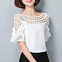 baratos Toalha de Banho-Mulheres Blusa - Para Noite Sofisticado Sólido Decote Canoa Branco / Com Corte