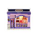 ราคาถูก บ้านตุ๊กตา-CUTE ROOM LED Lighting Dukkehus Model Building Kits DIY เฟอร์นิเจอร์ บ้าน ทำด้วยไม้ คลาสสิก สำหรับเด็ก Toy ของขวัญ