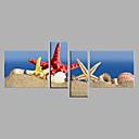 billiga Människomålningar-Hang målad oljemålning HANDMÅLAD - Stilleben Moderna Inkludera innerram / Fyra paneler / Sträckt kanfas