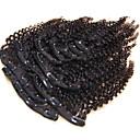 Χαμηλού Κόστους Αλογοουρές-Κουμπωτό Επεκτάσεις ανθρώπινα μαλλιών Kinky Curly Φυσικά μαλλιά Εξτένσιον από Ανθρώπινη Τρίχα Βραζιλιάνικη Γυναικεία Μαύρο
