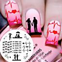 billiga Nagelstämpling-1 pcs Stämpelplatta Mall Moderiktig design / Alla hjärtans dag nagel konst manikyr Pedikyr Chic och modern Dagligen / stämpling Plate / Stål