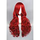 billiga Kostymperuk-Syntetiska peruker Lockigt Lockigt Peruk Lång Röd Syntetiskt hår Dam Röd