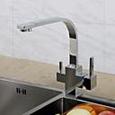 povoljno Slavine za umivaonik-Kuhinja pipa - Jedan Ručka jedna rupa Chrome Standardna lijevak / Visok / High Arc Središnje pozicionirane Suvremena / Art Deco / Retro / Moderna Kitchen Taps