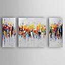 זול ציורים מופשטים-ציור שמן צבוע-Hang מצויר ביד - מופשט מודרני כלול מסגרת פנימית / שלושה פנלים / בד מתוח