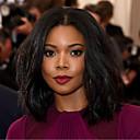 Χαμηλού Κόστους Συνθετικές περούκες χωρίς σκουφί-Συνθετικές Περούκες Κυματιστό Κυματιστό Κούρεμα καρέ Περούκα Μεσαίο Μαύρο Συνθετικά μαλλιά Γυναικεία Στη μέση Περούκα αφροαμερικανικό στυλ Μαύρο
