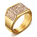 billige Båndringe-Herre Statement Ring Ring Signet Ring Krystall Gull Titanium Stål Kvadrat Personalisert Punk Rock Julegaver Bryllup Smykker