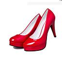 ราคาถูก สมาร์ทโฟน-สำหรับผู้หญิง รองเท้าส้นสูง ส้น Stiletto ปลายกลม ข้อต่อ PU รองเท้าคอมแบท / รองเท้าคลับ วสำหรับเดิน ตก / ฤดูหนาว สีดำ / ผ้าขนสัตว์สีธรรมชาติ / แดง / 3-4