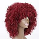 billiga Herrsmycken-Syntetiska peruker Rak Kinky Rakt Kinky Rakt Sexigt Lockigt Peruk Mellan Röd Syntetiskt hår Dam Afro-amerikansk peruk Röd