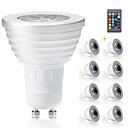 olcso LED Szpotlámpák-8db gu10 rgb izzók bombillák led 3w gu10 rgbw led lámpa dimmable fehér gu 10 led izzó 16 szín távirányítóval