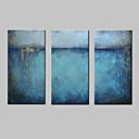 billige Abstrakte malerier-Hang malte oljemaleri Håndmalte - Abstrakt Moderne Europeisk Stil Inkluder indre ramme / Tre Paneler / Stretched Canvas